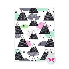 Çıkartması küçük çocuk - Geometrik karla kaplı dağlar, bulutlar ve yıldızlar