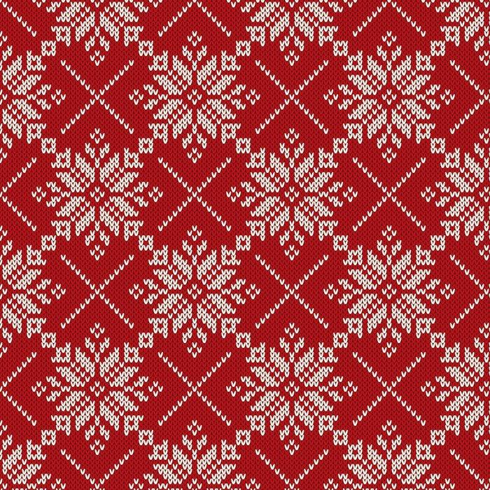 Tapete Weihnachten Stricken nahtloses Muster mit Schneeflocken. Fair ...