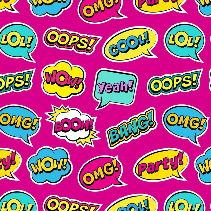 Seamless Colorful Pattern With Comic Speech Bubbles Patches On Pink Background Expressions OOPS COOL