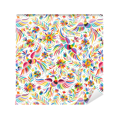 Papel pintado bordado mexicana patr n transparente patr n - Papeles pintados lavables ...