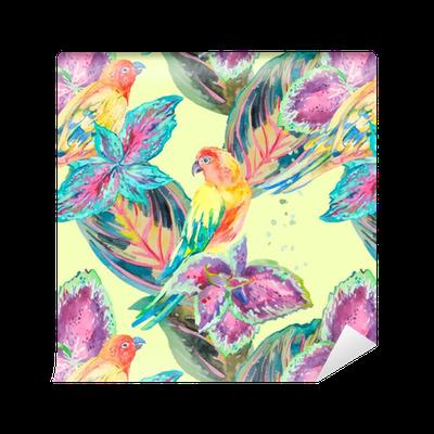 Papel pintado los loros de la acuarela de flores y hojas - Papeles pintados lavables ...