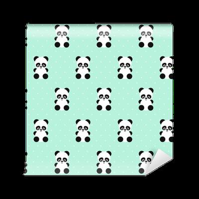 Papel pintado modelo incons til de panda en lunares fondo - Papeles pintados lavables ...
