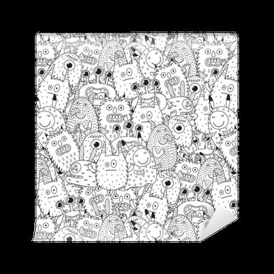 Papel pintado monstruos divertidos de patrones sin fisuras para colorear libro fondo blanco y - Papeles pintados lavables ...