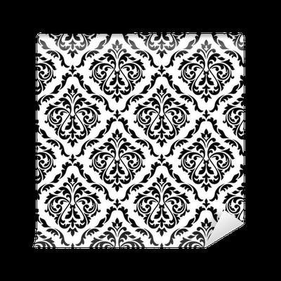 Papel pintado patr n floral blanco y negro del damasco - Papeles pintados lavables ...