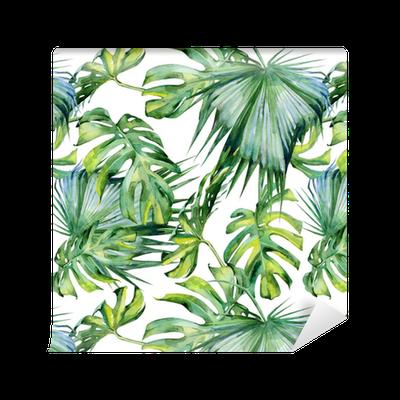 papier peint motifs illustration aquarelle transparente de feuilles tropicales jungle dense. Black Bedroom Furniture Sets. Home Design Ideas