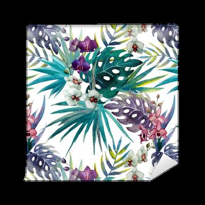 Papier peint à motifs Modèle de feuilles d'hibiscus orchidée, aquarelle • Pixers® - Nous vivons ...