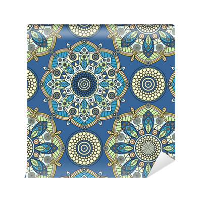 papier peint motifs motif de mandala floral transparente en bleu jaune orange p le et vert. Black Bedroom Furniture Sets. Home Design Ideas