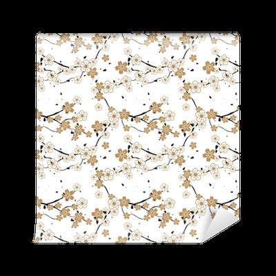 papier peint motifs motif r p titif sans soudure de fleurs panouies sur un arbre pixers. Black Bedroom Furniture Sets. Home Design Ideas
