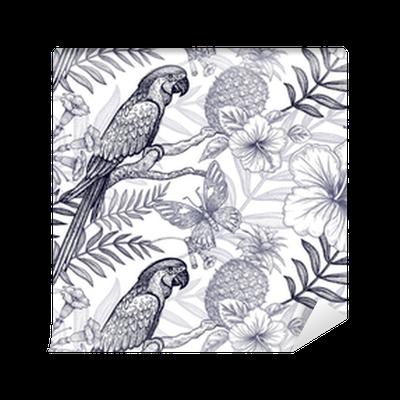Tapete Blumen und Vögel nahtlose Muster. Handzeichnung. Schwarz und ...