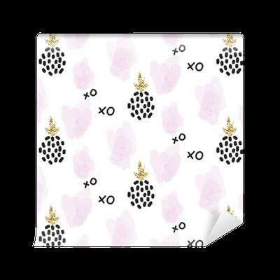 Tapete Glitter Skandinavisch Xoxo Ananas Ornament. Vector Gold Nahtlose  Muster Sammlung. Moderne Schimmer Details Und Rosa Brushstrokes Stilvolle  Textur.