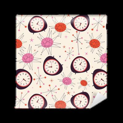 Tapete Mitte Jahrhundert Uhr Muster. Retro Vintage Fünfziger Jahre Stil  Vektor Muster. Zeitkonzept. U2022 Pixers®   Wir Leben, Um Zu Verändern