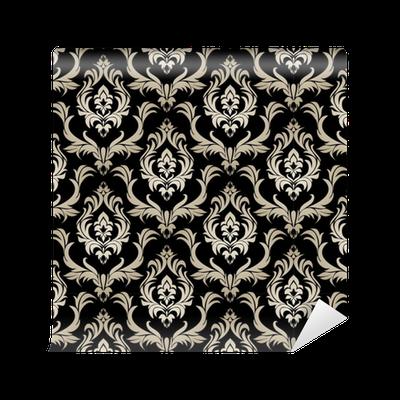 Tapete nahtlose retro damast tapete silber floral for Tapete schwarz silber