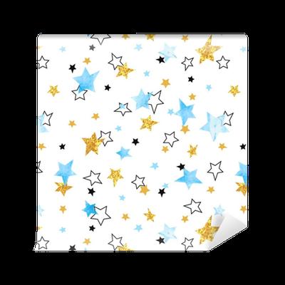 tapete nahtlose sternenmuster vektorhintergrund mit den blauen und funkelnden goldenen sternen. Black Bedroom Furniture Sets. Home Design Ideas