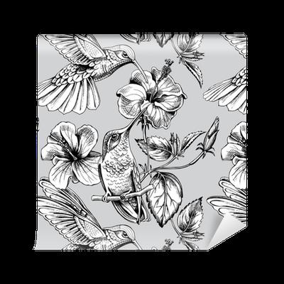 Tapete Nahtloses Muster mit Bild von Kolibris mit einem Hibiscus ...