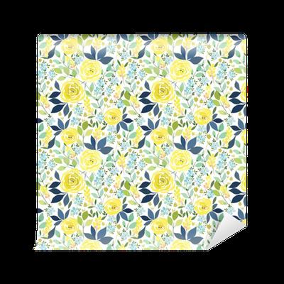 tapete nahtloses muster mit gelben rosen und blauen kleinen blumen mit bl ttern pixers wir. Black Bedroom Furniture Sets. Home Design Ideas