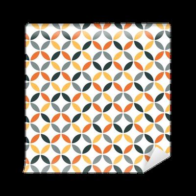 Tapete Orangefarbene Geometrie Retro nahtlose Muster • Pixers® - Wir ...