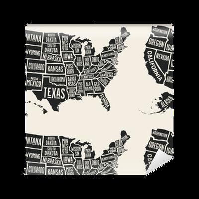 Amerika Karte Schwarz Weiß.Tapete Plakatkarte Der Vereinigten Staaten Von Amerika Mit Staatsnamen Schwarzweiss Druckkarte Von Usa Für T Shirt Plakat Oder Geographische Themen