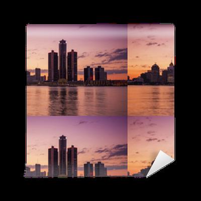 Beautiful skyline of Detroit City, the