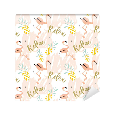 Blush Pink Flamingo Pineapples And Message Relax On The