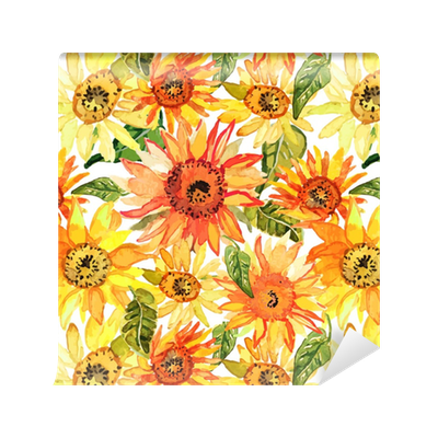 Floral Seamless Pattern With Sunflowers Drawn Watercolor Wallpaper O PixersR We Live To Change