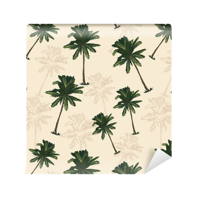 Palm tree pattern seamless in simple style vector illustration Wallpaper •  Pixers® • We live to change