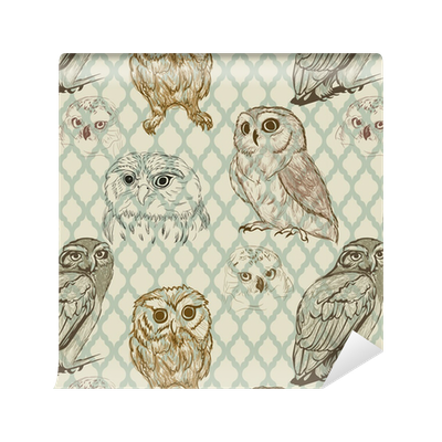 Seamless Background With Retro Owl Sketches Wallpaper Pixers We Live To Change