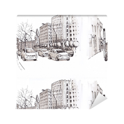 Urban Sketch Street With Traffic Wallpaper Pixers We Live To Change
