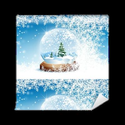 Winter, Grußkarte, Vorlage, Schneekugel, Blauer Himmel, Kristall ...