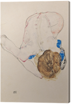 Egon Schiele - Nude with Blue Stockings, Bending Forward Canvas Print