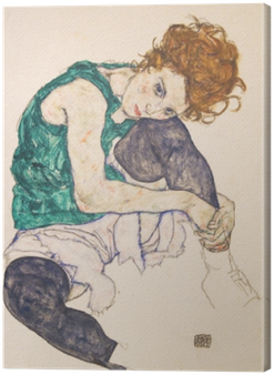 Egon Schiele - Seated Woman with Bent Knee Canvas Print