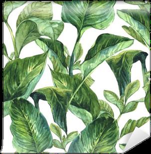 Vinylová fototapeta Akvarel Bezešvé pozadí s tropickým listy
