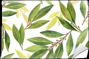 Papier peint vinyle Modèle sans couture aquarelle baie la feuille de fleurs et de feuilles isolé sur fond blanc.