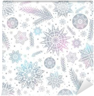 Christmas seamless pattern background with snowflakes and stars, Vinyl Wall Mural