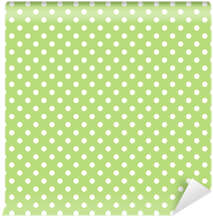 Seamless vector pattern with polka dots on green background Vinyl Wall Mural