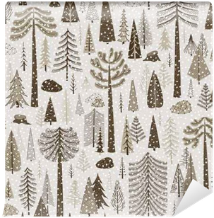Seamless winter pattern of coniferous forest Vinyl Wall Mural