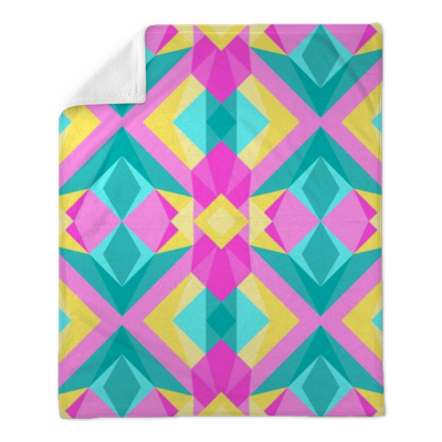 Wild triangle polygonal 90s or 80s pattern vector  Abstract geometric  bubblegum colors pop art style background  Plush Blanket • Pixers® • We