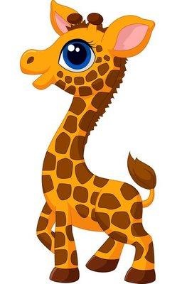 Nálepka na Stěny Roztomilé mládě žirafy, karikatura