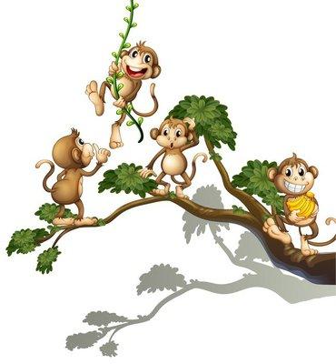 Nálepka na Stěny Strom se čtyřmi opicemi