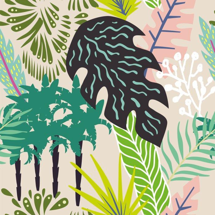 Papier peint vinyle Résumé des feuilles et des palmiers - Été