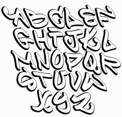 Graffiti Font Alphabet Letters Hip Hop Type Grafitti Design PVC Print