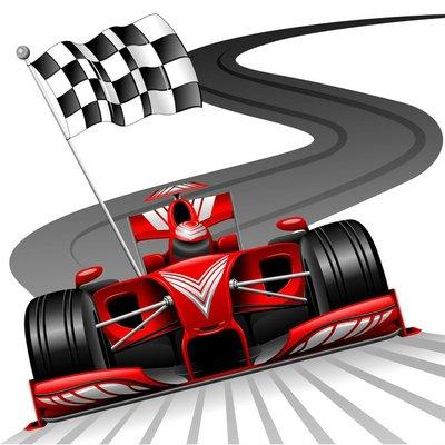 Formula 1 punainen auto kilparadalla Seinätarra