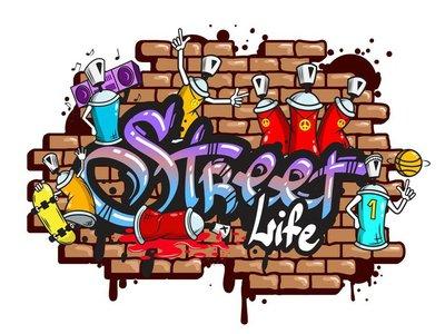 Graffiti sanahahmojen koostumus Seinätarra