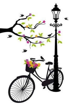 Polkupyörä lampulla, kukat ja puu, vektori Seinätarra