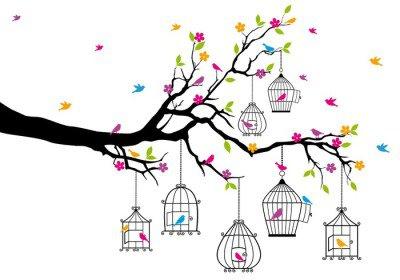 Sticker Mural Arbre avec des oiseaux et des cages à oiseaux, vecteur