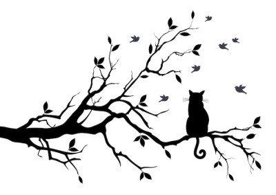 Sticker Mural Chat sur un arbre avec des oiseaux, vecteur