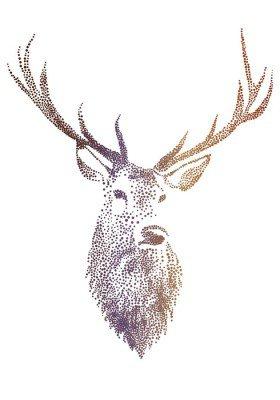Sticker Mural Tête de cerf, vecteur
