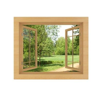 Vinilo para Pared Vista de la ventana aislado en un blanco