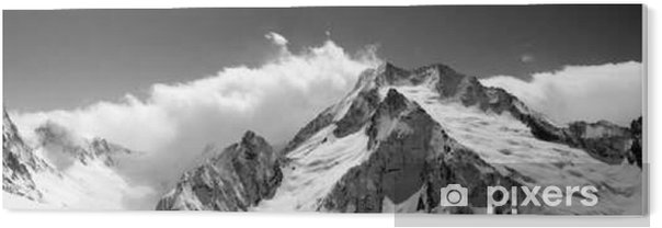 Black and white mountain panorama in clouds Acrylic Print - Landscapes