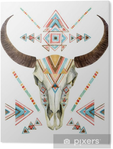 Cow skull in tribal style. Animal skull with ethnic ornament Acrylic Print - Animals