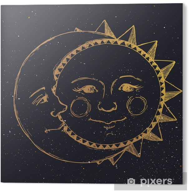 Hand drawn sun with moon Acrylic Print - Graphic Resources